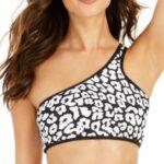 Calvin Klein Bound Printed One-Shoulder Bikini Black Leopard XL